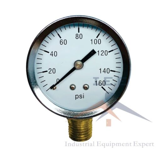 "Quality 1/4"" NPT Air Pressure Gauge 0-160 PSI Side / Bottom Mnt Mount 2"" Face"