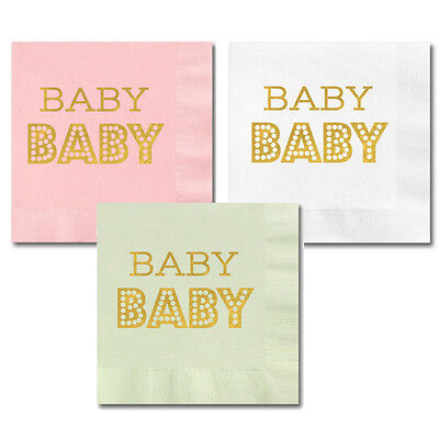 25pk Metallic Baby Cocktail Baby Shower Napkins](Baby Shower Cocktails)