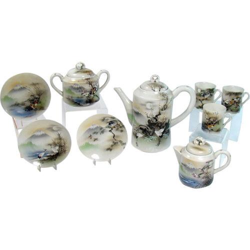 Hand-painted Japanese Porcelain Tea Set - 1920