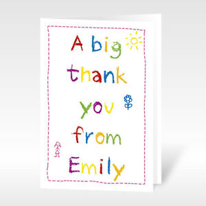 12x Personalised A6 Thank You Cards Childrens Kids Birthday Baby Boys & Girls