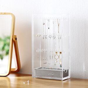 Acrylic Jewelry Rings Earrings Organizer Storage Box Dust Free