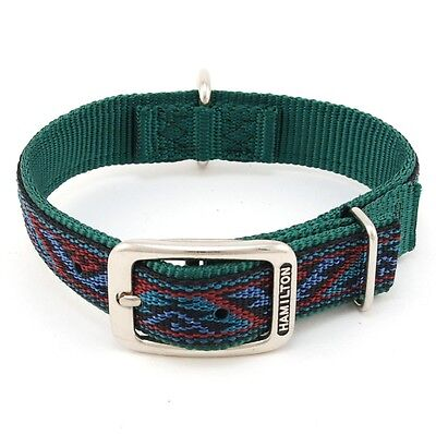 "HAMILTON ST Nylon Dog Collar, 22"" x 1"", Dark Green with Southwest Overlay"