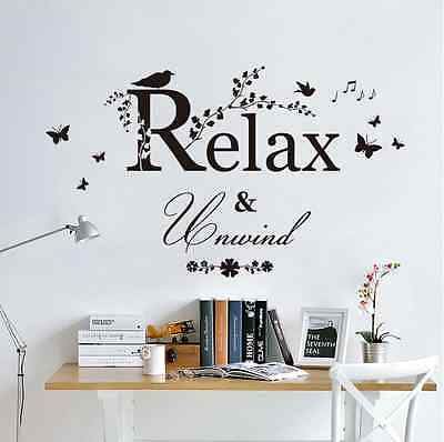 Relax Unwind Bird PVC Wall Sticker Waterproof Bathroom Bedroom Quotes Decor Diy