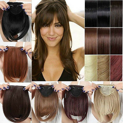 Women Synthetic Hair Fringe Bang Hairpiece Clip-In Front Hair Extension Straight ()