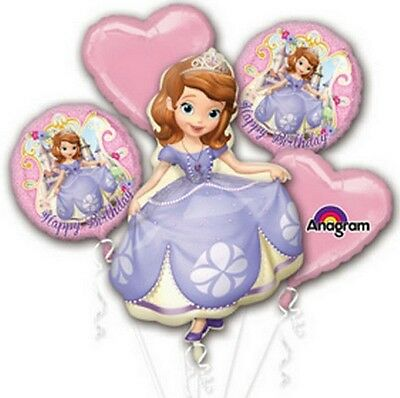Sofia the First Birthday Party Favor Supplies 5CT Foil Balloons Bouquet
