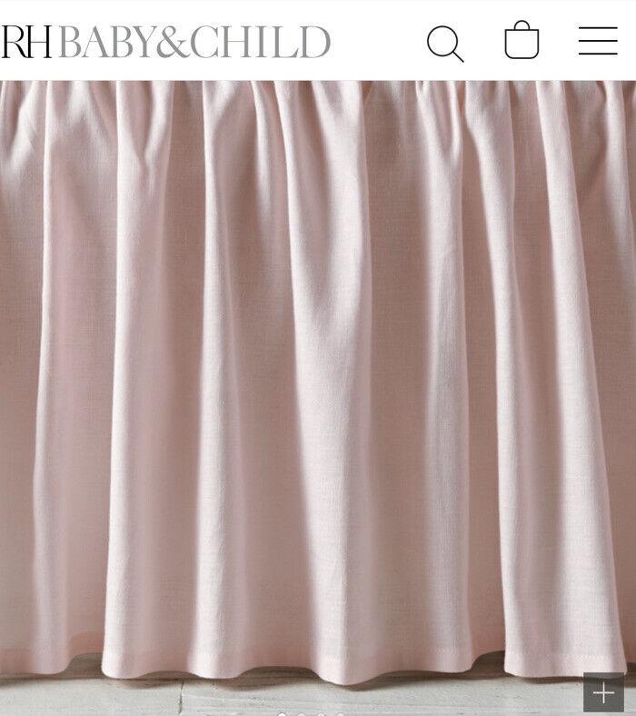 RH Baby Girls Restoration Hardware Petal Pink Gathered Cotton Linen Crib Skirt