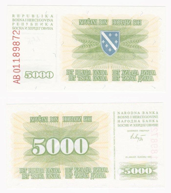 Bosnia Herzegovina 5000 dinara P-16a 1993   F