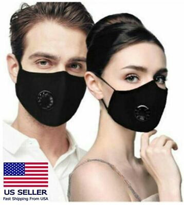 Cotton Face Mask With Breathing Valve Filters Activated Carbon Washable Reusable