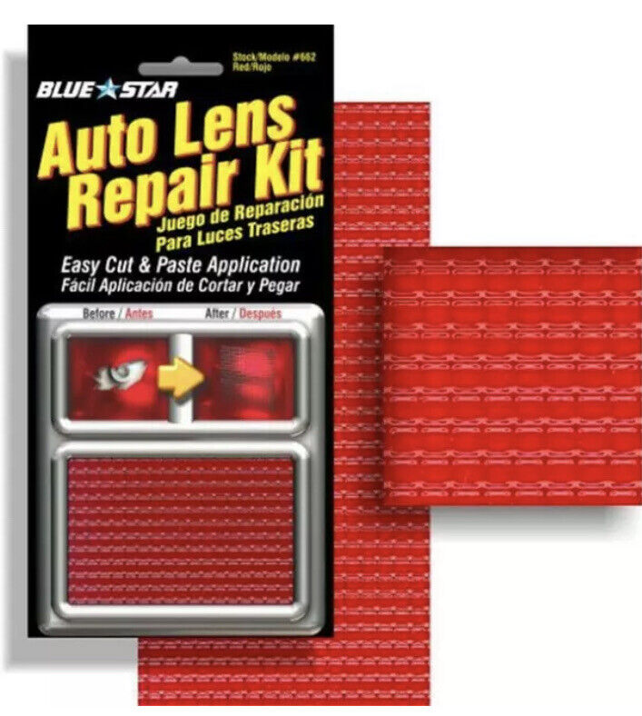 Auto Lens Repair Kit Red Textured Blue star 662 Tail light New