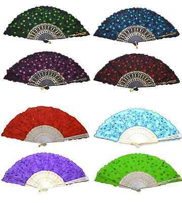 1 PCS Chinese Japanese Fabric folding Fan HAND FAN Assorted color U.S. Seller - Asian Hand Fans