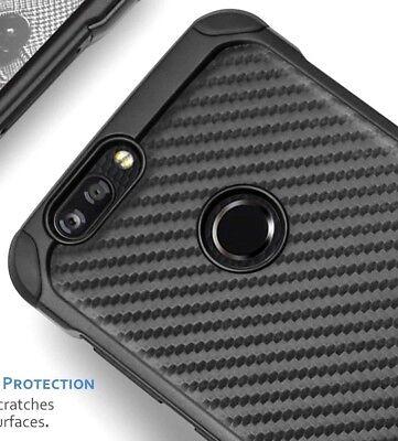 For ZTE SEQUOIA / BLADE Z MAX - Hybrid Armor Impact Skin Case Black Carbon Fiber Black Impact Skin Case