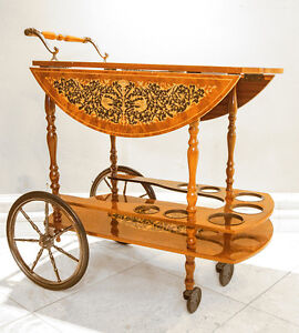Italian Wood with multi-colour wood inlays, drop leaf bar cart