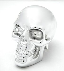 ELECTROPLATED SKULL METALLIC CHROME STATUE FIGURINE.HUMAN HEAD.COOLEST
