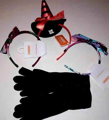 Lot 4 Gymboree Accessories Fancy Black Gloves 3 Hair Headbands Flower Bow Witch](Witches Glove)