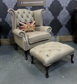 NEW UNIQUE Chesterfield Queen Anne Wing Back Chair & Footstool Grey Leather - UK Delivery