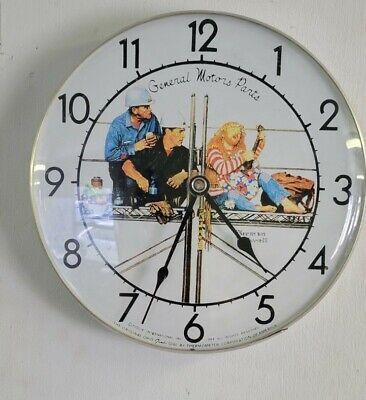 "VINTAGE General Motors Parts Norman Rockwell JUMBO DIAL Clock Ohio 1984 12"""
