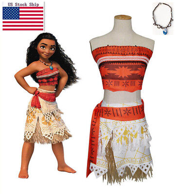 US Girls Animie Movie Polynesia princess Moana Cosplay Costume Dress - Movie Costumes For Women