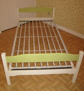Little vintage painted twin bed frame and steel spring