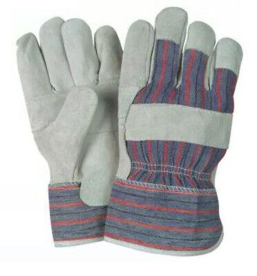 10 Pairs Garden Safety Economy Split Cowhide Leather Work Gloves Medium
