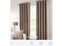 Done elm chenille taupe curtains and two large cushions
