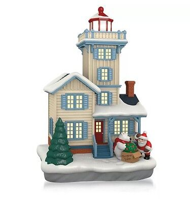 Holiday Lighthouse 2015 Hallmark Ornament 4Th In Series  Polar Bear  Santa Claus