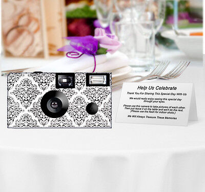 10 Pack Damask Disposable Camera, Wedding Camera, Sweet 16, Birthday, Party