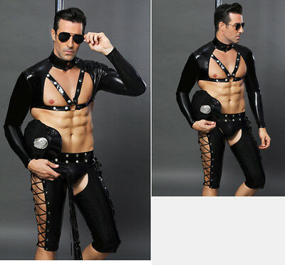 Sexy Men's Police Uniform Cosplay Bar Outfit Unique Underwear Costume Role Play  - Unique Costumes Men