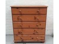 Modern Pine Chest of Five Drawers on Bun Feet