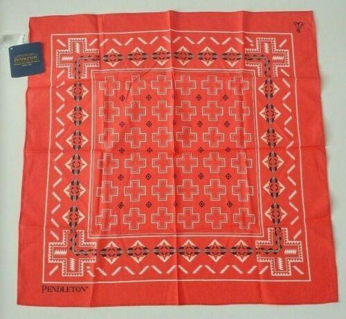 Pendleton 100% Cotton Bandana / Handkerchief • Lightweight (Pueblo Cross Coral)