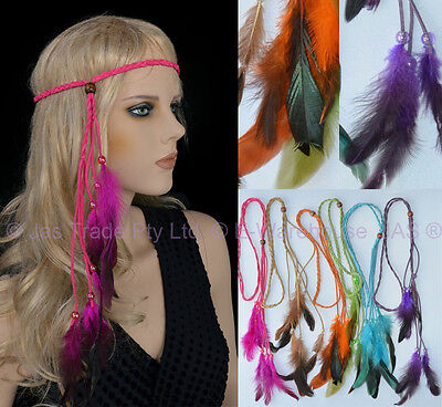 Feather 70s 80s Disco Plaited Braided Head Band  Neon Boho Hippy  Hair Extension (70s Head Band)
