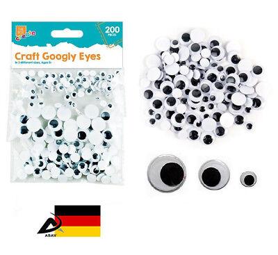 200 Eye ( 200 Stück Wackelaugen 0,5 bis 1,5 cm Groß Basteln Googly Eyes Wackel Augen )