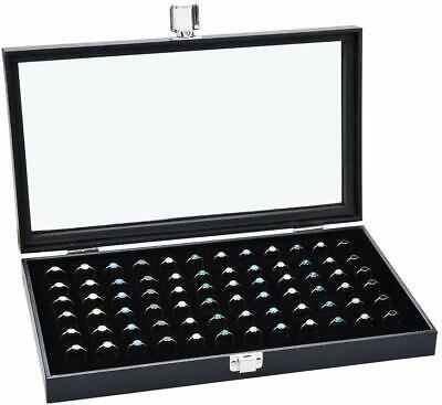 72 SLOT Ring Box Organizer Jewelry Display Glass Storage Leather Case Holder 72 Ring Case Jewelry Box