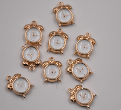 как выглядит 10pcs 3D White Enamel Alarm Clock Charm Pendant 15 10mm Fit DIY Bracelet Making фото