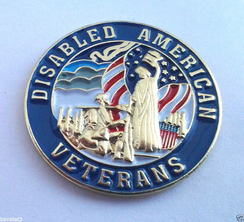 """DISABLED AMERICAN VETERANS (7/8"""" ROUND) Military Hero Hat Pin P62559 EE"""