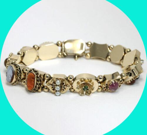Antique ORNATE 13 charm SLIDE bracelet 14K gold cameo pearl gems 37.8 GRAMS