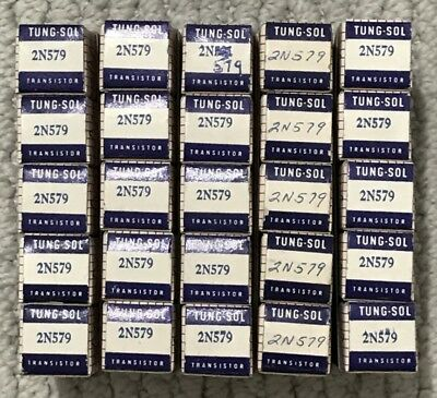 66ea Baby Blue Tung-sol Ts 2n460 2n579 Gold Pnp To-9 Transistors New In Box