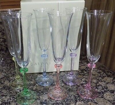 GALWAY IRISH CRYSTAL LIBERTY PARTY PACK FLUTES PROSECCO GLASSES