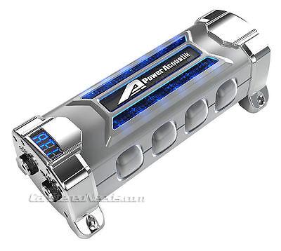NEW POWER ACOUSTIK PCX-5F 5 FARAD DIGITAL CAR AUDIO CAPACITOR BLUE VOLT METER