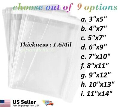 100pcs Premium Clear Resealable Cellophane Cello Bag 1.6mil Opp Bag Resealable