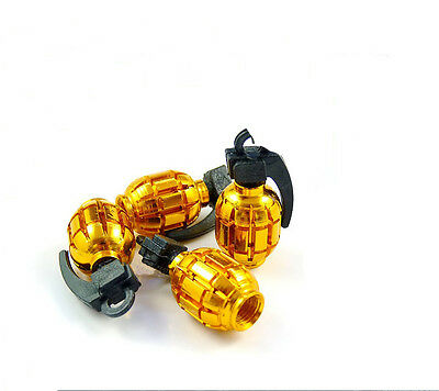 Grenade Gold Car Wheel Tyre Valve Dust Caps Covers Tire New  Set of 4