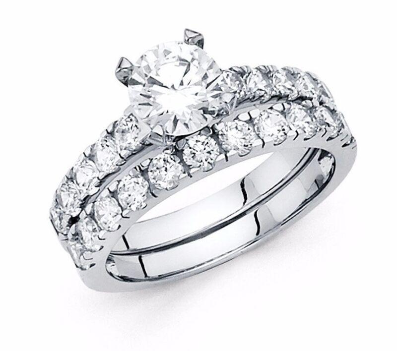 2 CT Round Engagement Bridal Ring Set in Solid 14k White Gold