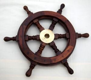 VICTORIAN Traditional ship's 6 spoke wooden wheel with brass centre section Gift