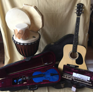 Guitar, fiddle, silver Flute, djembe, hand drums