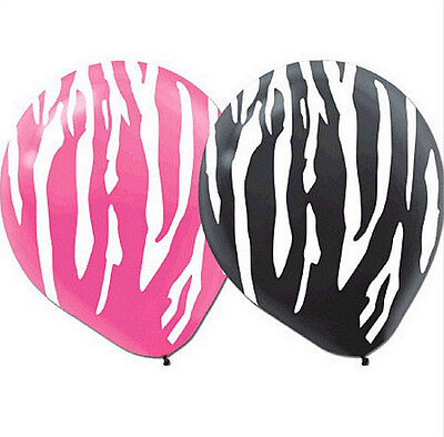 Designer Pink and Black Zebra Pattern12 inch Latex Balloons (20 pack) - 115495 - Pink And Black Balloons