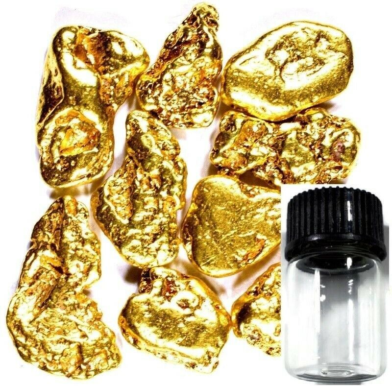 50 PIECE ALASKAN NATURAL PURE GOLD NUGGETS WITH BOTTLE FREE SHIPPING (#B250)