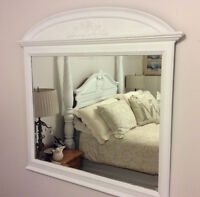 Large wooden mirror in white chalk paint