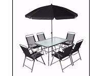 6 Piece Patio Set with Glass Table and Umbrella North London Collection