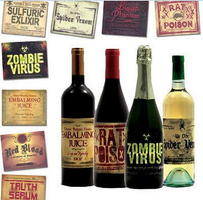 Flaschen Etiketten Aufkleber  Halloween Zombie Stickers Grusel Tischdeko NEU (Halloween Flaschen Etiketten)
