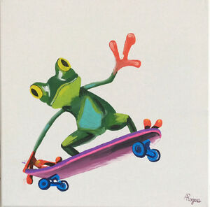 Sk8er frog acrylic painting