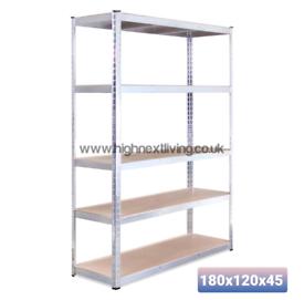 5 Tier Metal galvanised Shelving 180 x 120x 45cm